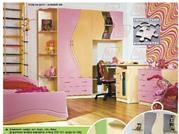 Детская кровать Еколь розовая(лак)