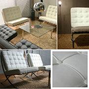 Barcelona  диван офисный ,   кожа черная итальянская